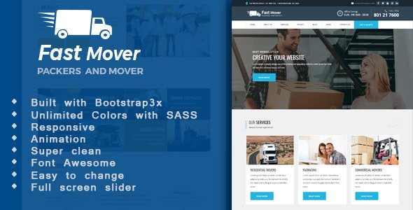 Fast Mover - Moving Company HTML Template - Business Corporate