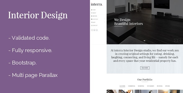 Interior Design Responsive Template - Portfolio Creative
