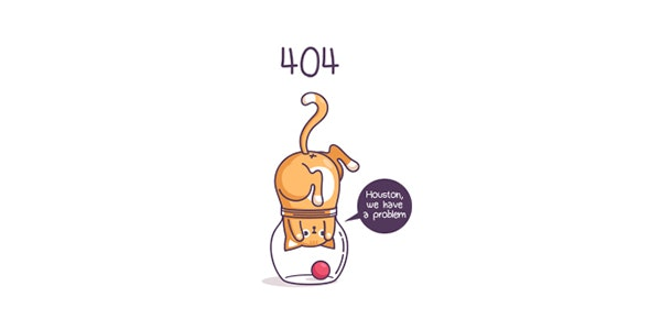 404 Error SVG - Houston, we have a Problem - Cat in the Jar - 404 Pages Specialty Pages