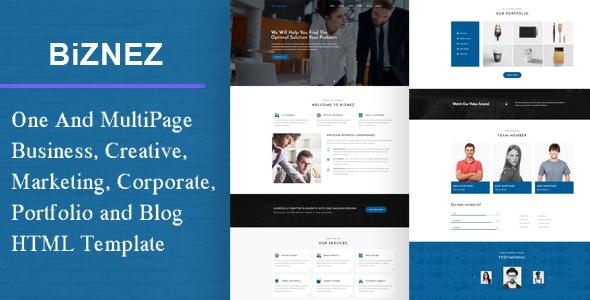 Biznez - Responsive Corporate, Business, Creative , Portfolio & Blog HTML Website - Business Corporate