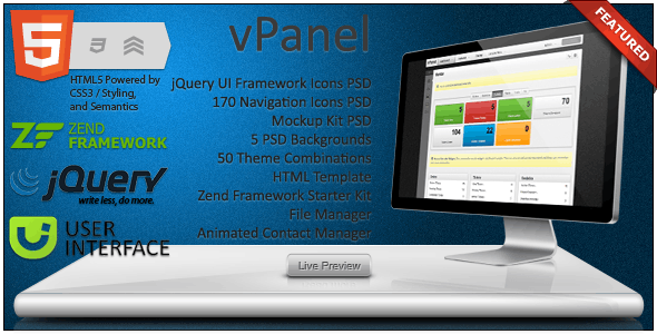 vPanel - Application Framework - Admin Templates Site Templates