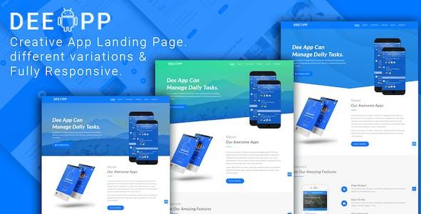 DeeApp - OnePage Responsive App Landing Template