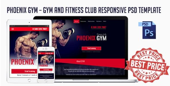 Phoenix Gym - Gym and Fitness Club Responsive PSD Template - Photoshop UI Templates