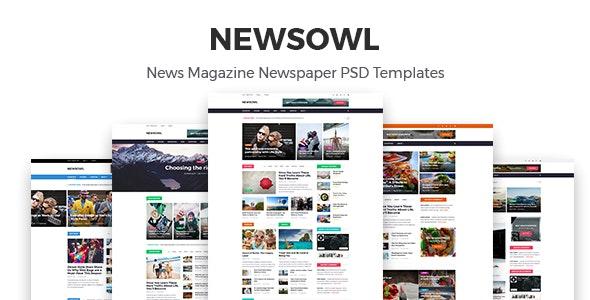 NewsOwl - News Magazine Newspaper PSD Templates - Corporate Photoshop