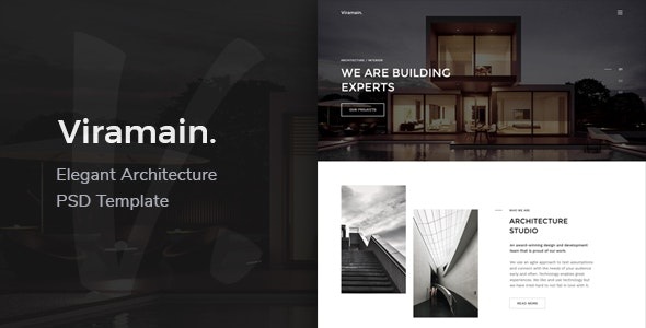 Viramain - Elegant & Minimal Architecture PSD Template - Corporate Photoshop