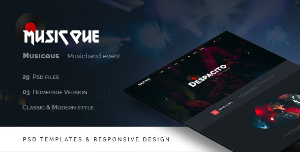 Musicque - Music Band Event PSD Template - Entertainment Photoshop