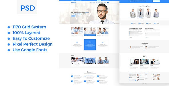 Advicepro - Business,Consultation,Agency PSD Template - Business Corporate
