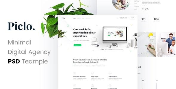 Piclo. - Minimal Digital Agency PSD Template - Portfolio Creative