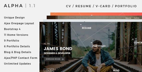 Alpha | CV, Resume, vCard, Portfolio Ajax Template