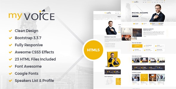 My Voice – HTML Template for Speakers and Life Coaches! - Site Templates