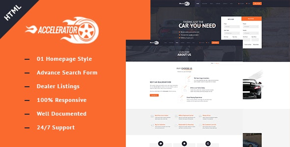 Accelerator Listings Responsive Cars Dealers HTML Template - Business Corporate