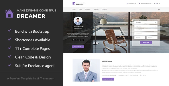 Dreamer - Freelance Property Agent HTML Template - Business Corporate