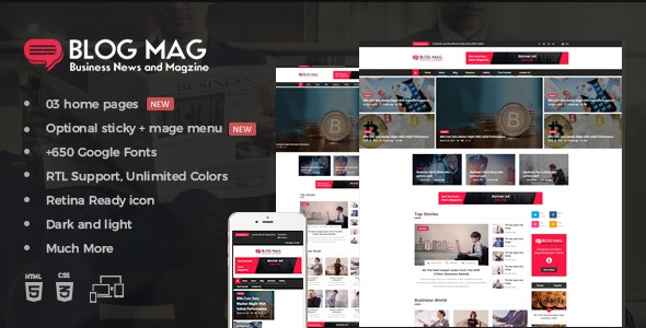 Blog Mag Bootstrap Business News and Magazine Responsive Template - Entertainment Site Templates