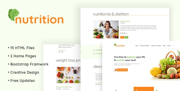 Nutrition - HTML5 Template for Nutrition and Diet Consultancy - Health & Beauty Retail