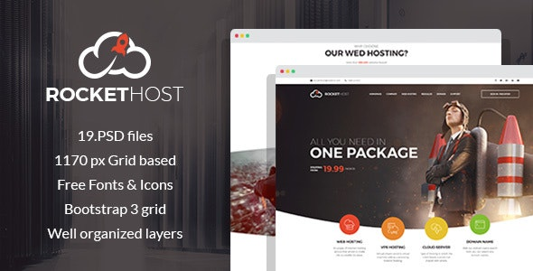 RocketHost - Web Hosting PSD Template - Hosting Technology