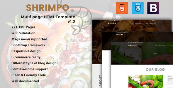 Shrimpo | HTML5 Multipage Business Template - Retail Site Templates