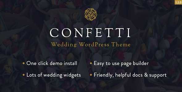 Confetti - Responsive Wedding WordPress Theme - Wedding WordPress