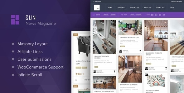 Sun - Grid News Blog with Affiliate links theme for WordPress by Osetin