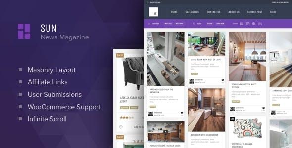 Sun - Grid News Blog with Affiliate links theme for WordPress