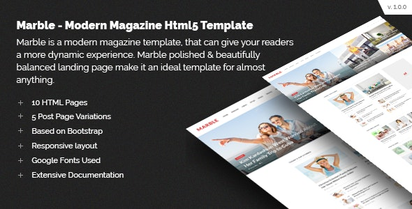 Marble - Modern Magazine HTML5 Template - Creative Site Templates
