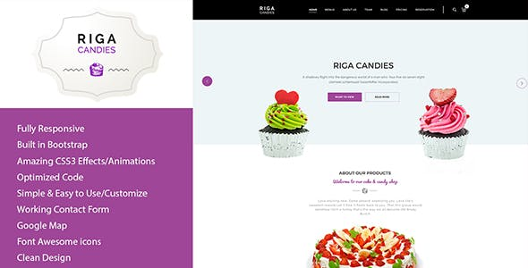 Riga - Candy & Sweets HTML Template