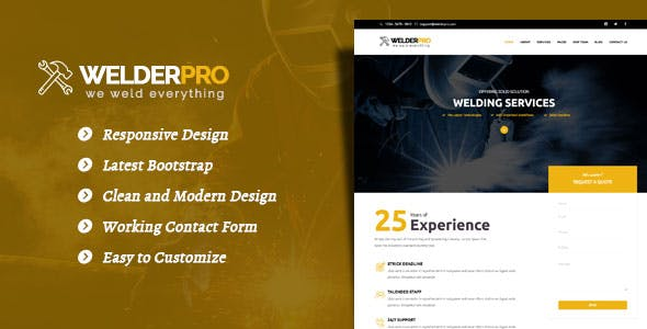 Welder Pro - WordPress Theme for Welding Contractor