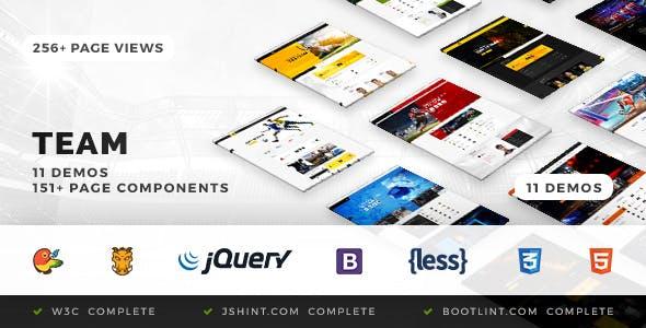 Team - Soccer, Football, Hockey, Basketball Club & eSport HTML Template
