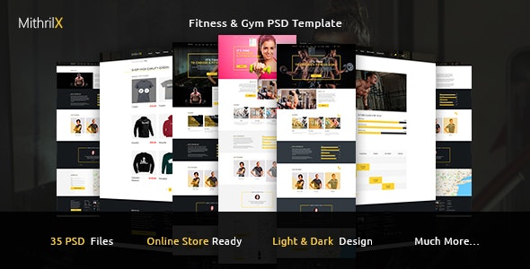 MithrilX – Fitness & Gym PSD Template - Photoshop UI Templates