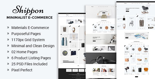 Shippon | Minimalist eCommerce PSD Template - Retail Photoshop