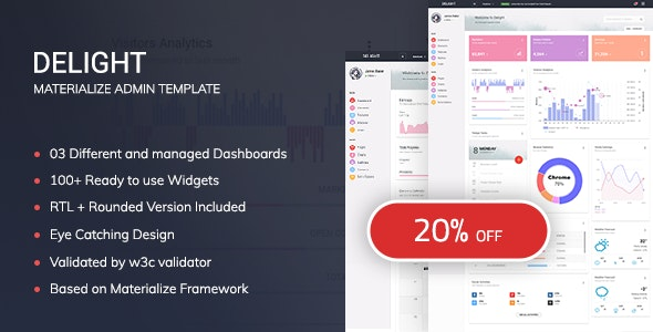 Delight - Responsive Admin Template - Admin Templates Site Templates