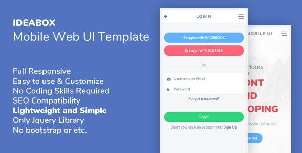 Ideabox - Mobile Web UI Template - Mobile Site Templates