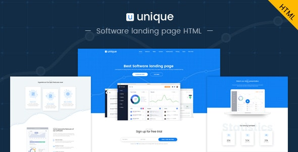 Unique: Software landing page HTML template - Software Technology