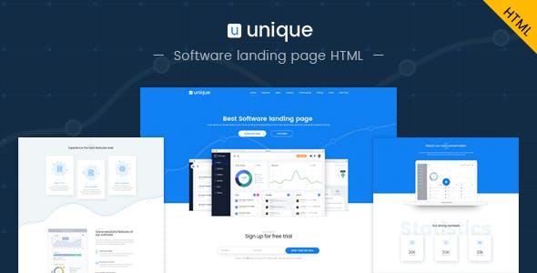 Unique: Software landing page HTML template