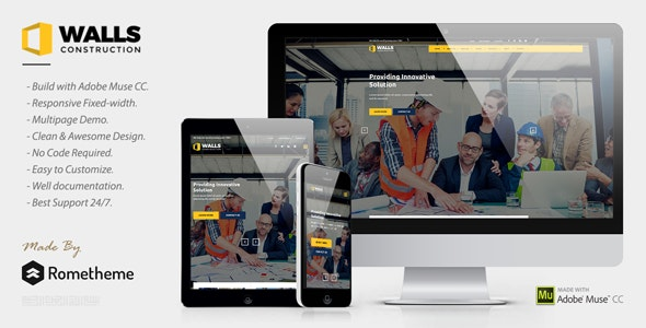 Walls - Construction MUSE Template - Corporate Muse Templates