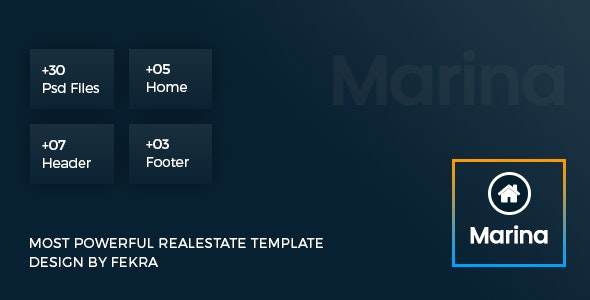 Marina - Real Estate PSD Template With Admin Dashboard - Corporate Photoshop