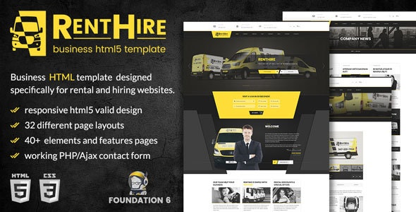 RentHire - Vehicles Rental/Hire Services HTML Template - Business Corporate