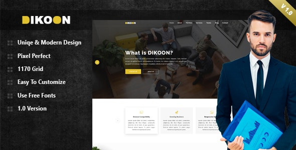 DIKOON Business & Agency Landing Page PSD Template - Corporate Photoshop