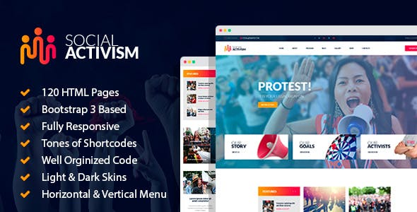 Social Activism - Non-Government Organization HTML Template with builder