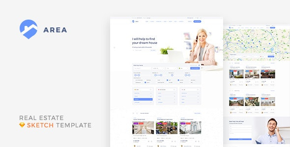Area — Real Estate Agency and Realtor Sketch Template by