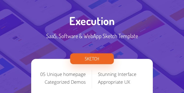 Execution - SaaS, Software & Web App Sketch Template - Business Corporate