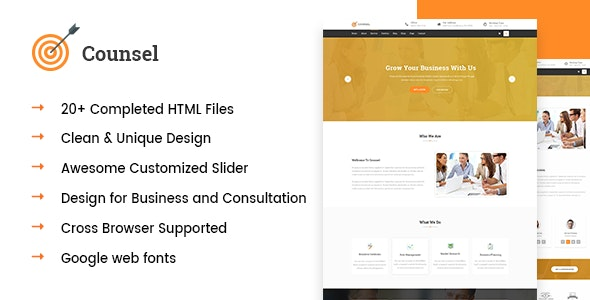 Counsel- Business and Financial Consultation HTML5 Template - Business Corporate