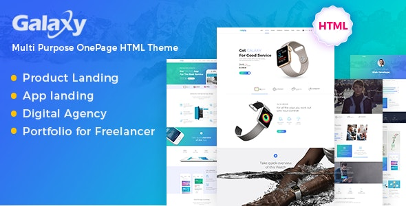 Galaxy - One Page Parallax - Technology Site Templates