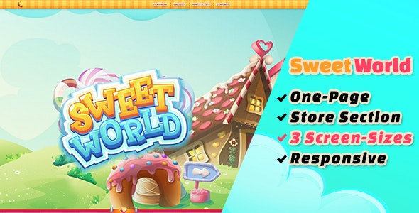 Sweet World: The Ultimate One-Page Premium Casual Gaming PSD Template - Technology Photoshop