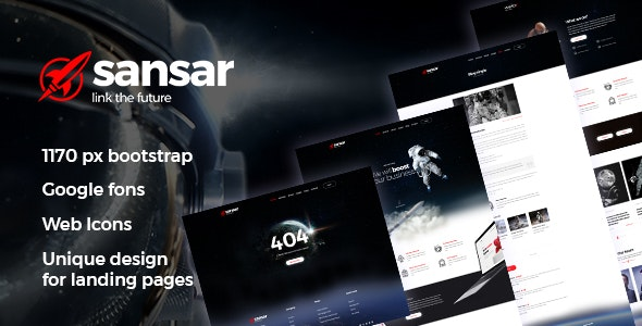 Sansar - Startup modern space PSD template - Photoshop UI Templates