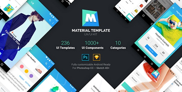 Material Template UX/UI Kit - Sketch UI Templates