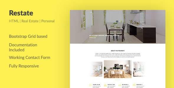 Restate — Real Estate Agent Personal HTML Template - Virtual Business Card Personal