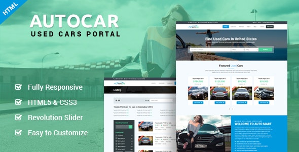 AutoCar - Online Used Cars Template - Business Corporate