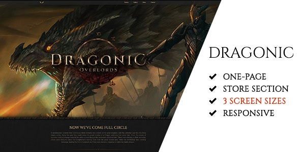 Dragonic: The Ultimate One-Page Premium Gaming PSD Template - Technology Photoshop