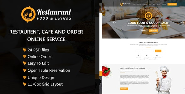 Restaurant  Food & Drinks PSD Template - Food Retail
