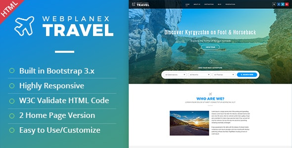 Tour & Travel HTML Template by WebPlanex - Travel Retail